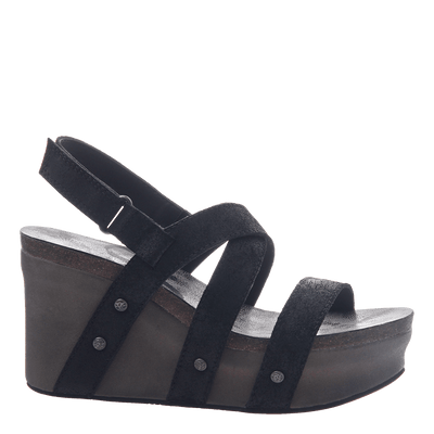 Womens wedge sandals Sail in black suede side