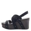 Womens wedge sandals Sail in black suede inside