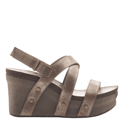 Womens wedge sandals Sail in gold side