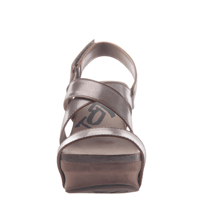 Womens wedge sandals Sail in pewter front