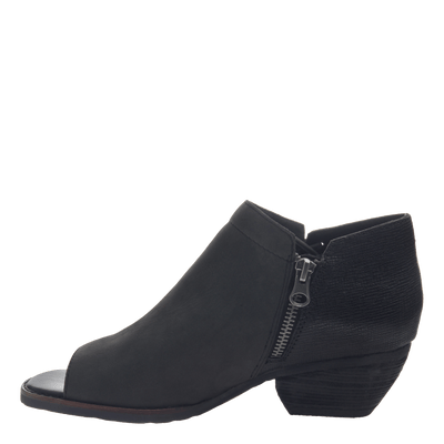 women's ankle bootie the truckage in black side view