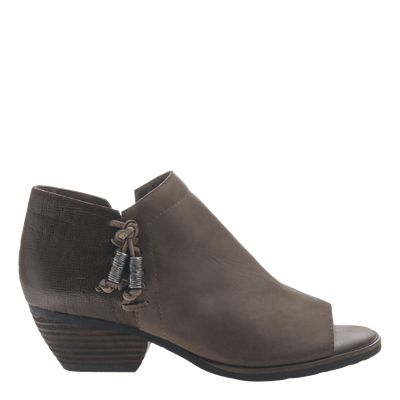 women's ankle bootie the truckage in grey side view