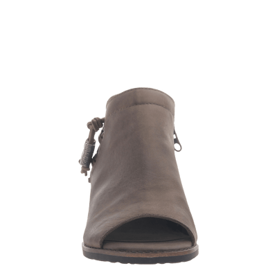 women's ankle bootie the truckage in grey front view