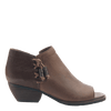Women's open toe bootie truckage in rich brown outside view