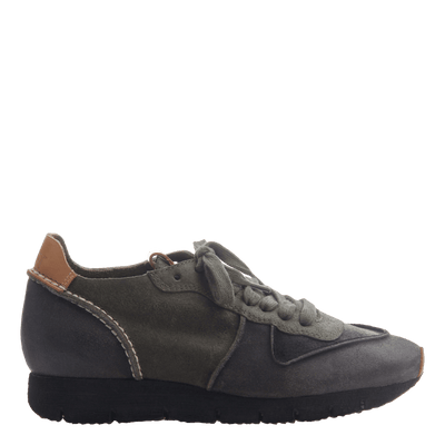 Women' lace up sneaker the snowbird in dark grey side view