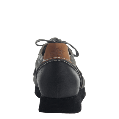 Women' lace up sneaker the snowbird in dark grey back view
