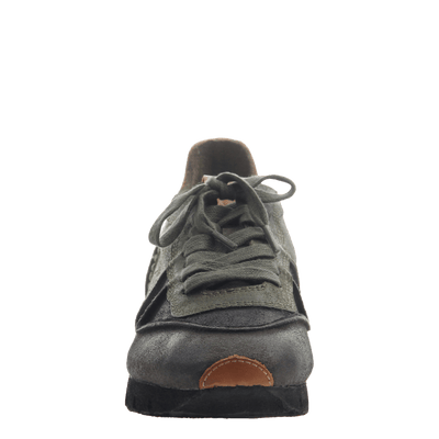 Women' lace up sneaker the snowbird in dark grey front view