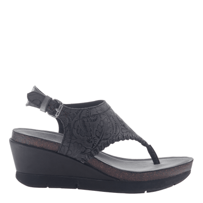 Womens thong wedge sandal Meditate in black side view