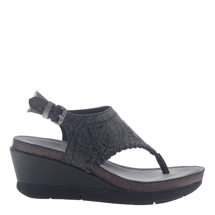 Womens thong wedge sandal Meditate in black
