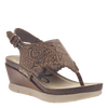 Womens thong wedge sandal Meditate in hickory
