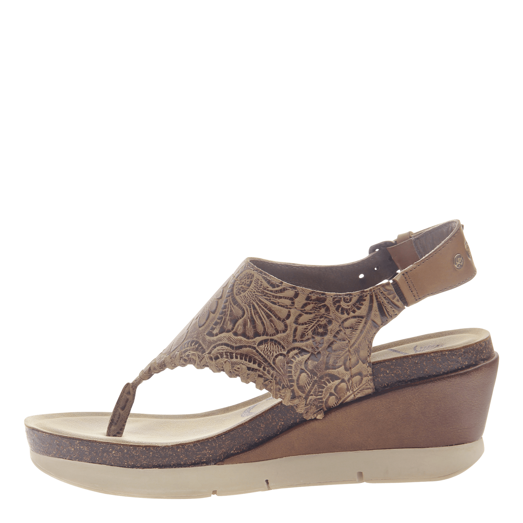 ac66f8eee574de Womens thong wedge sandal Meditate in hickory inside view