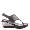 Womens thong wedge sandal Meditate in silver side view