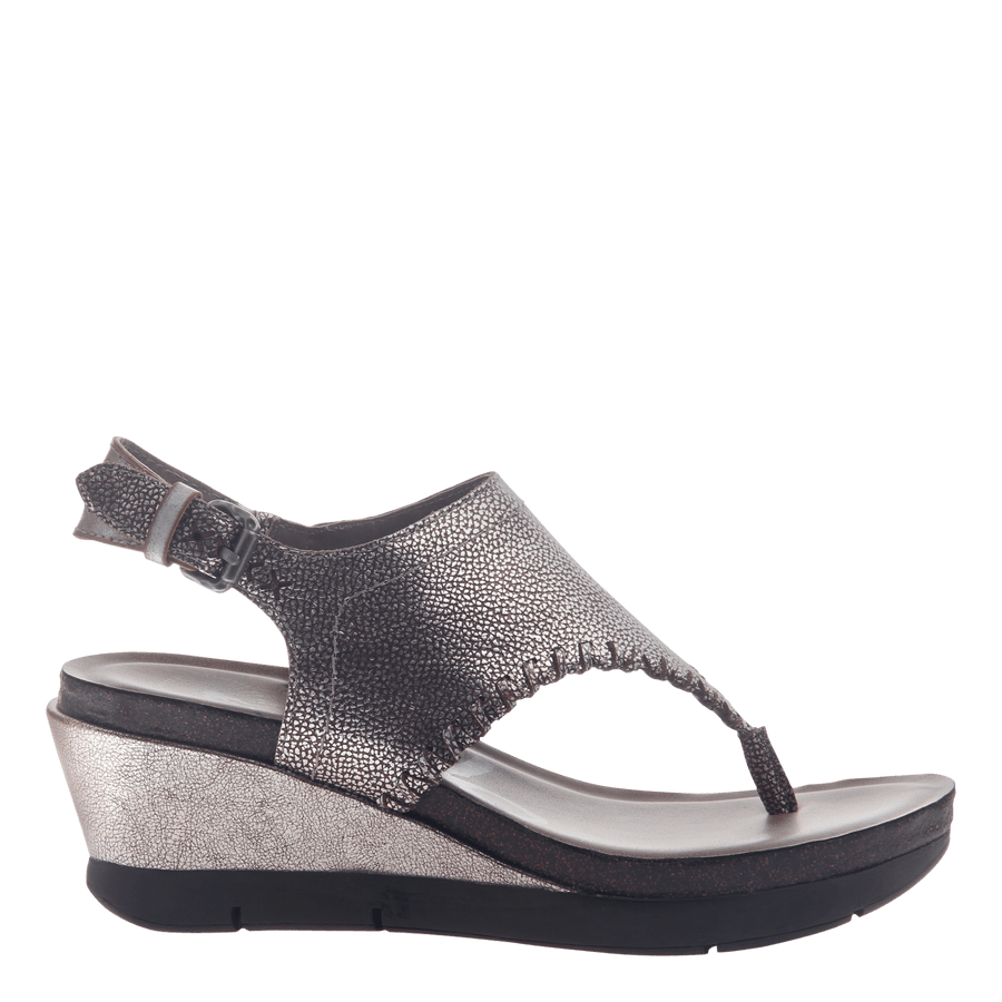 Womens thong wedge sandal Meditate in silver