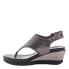 Womens thong wedge sandal Meditate in silver inside view