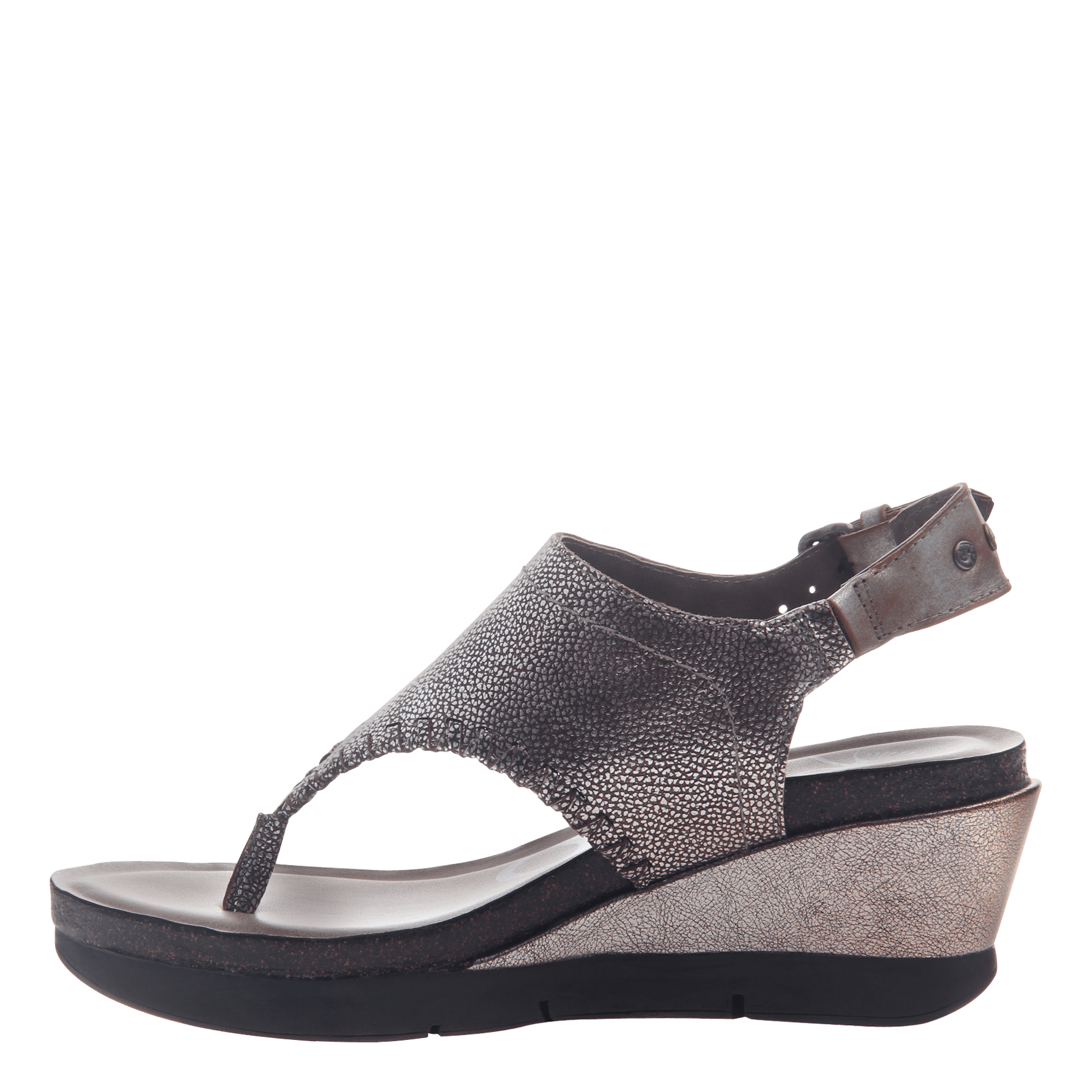 7bb6ff3ee4e Womens thong wedge sandal Meditate in silver inside view