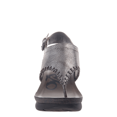 Womens thong wedge sandal Meditate in silver front view