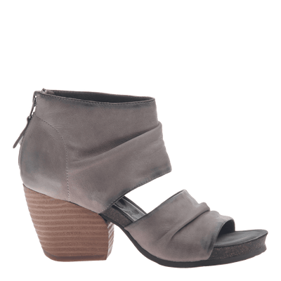 Womens heel sandal patchouli in zinc side view