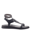 Womens strappy flat sandal Stargaze in Black side view