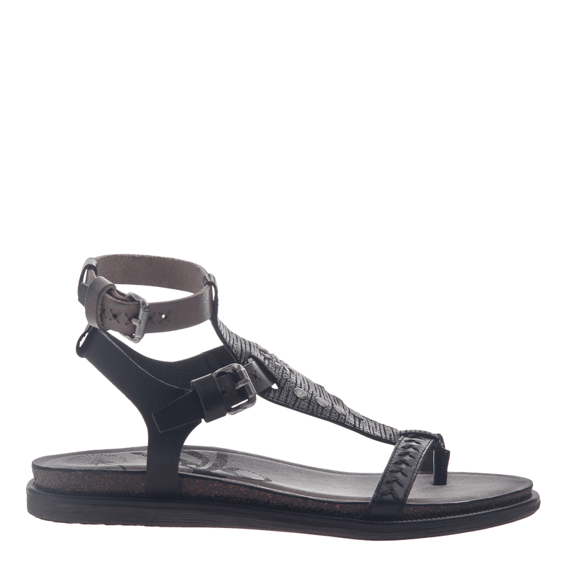 Womens strappy flat sandal Stargaze in Black