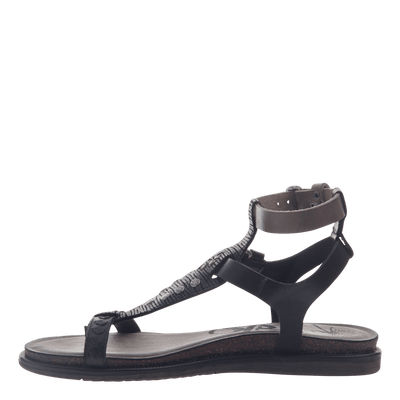 Womens strappy flat sandal Stargaze in Black inside view