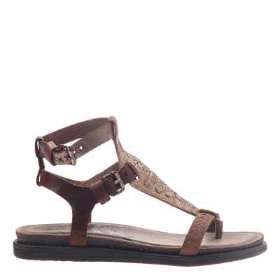 Womens strappy flat sandal Stargaze in Copper side view