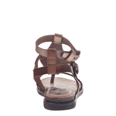 Womens strappy flat sandal Stargaze in Copper back view