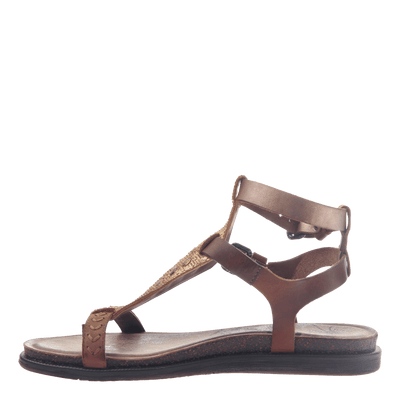 Womens strappy flat sandal Stargaze in Copper inside view