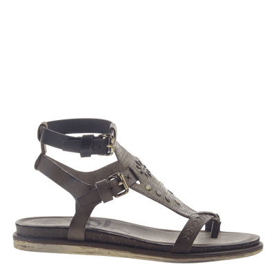 Womens strappy flat sandal Stargaze in Khaki side view