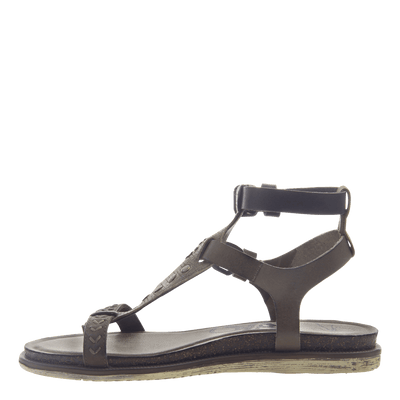Womens strappy flat sandal Stargaze in Khaki inside view