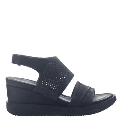 Womens light weight sandal wedge Milky Way in Black  side view