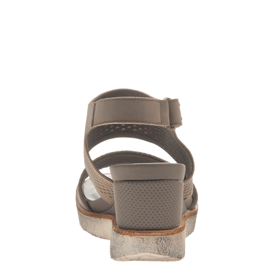 Womens light weight sandal wedge Milky Way in Cocoa back view
