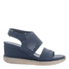 Womens light weight sandal wedge Milky Way in New Blue side view