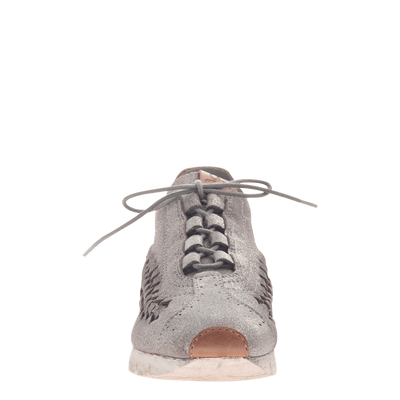 Womens cut out sneaker Nebula in Grey Silver front view