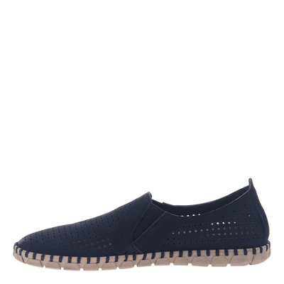 Womens light weight perforated sneakers Universe in Navy inside view