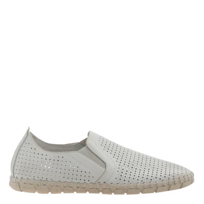 Womens light weight perforated sneakers Universe in White side view