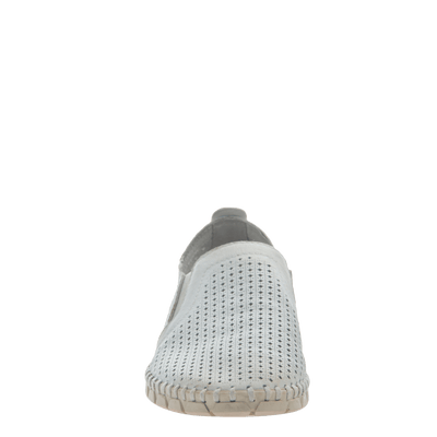 Womens light weight perforated sneakers Universe in White Front view