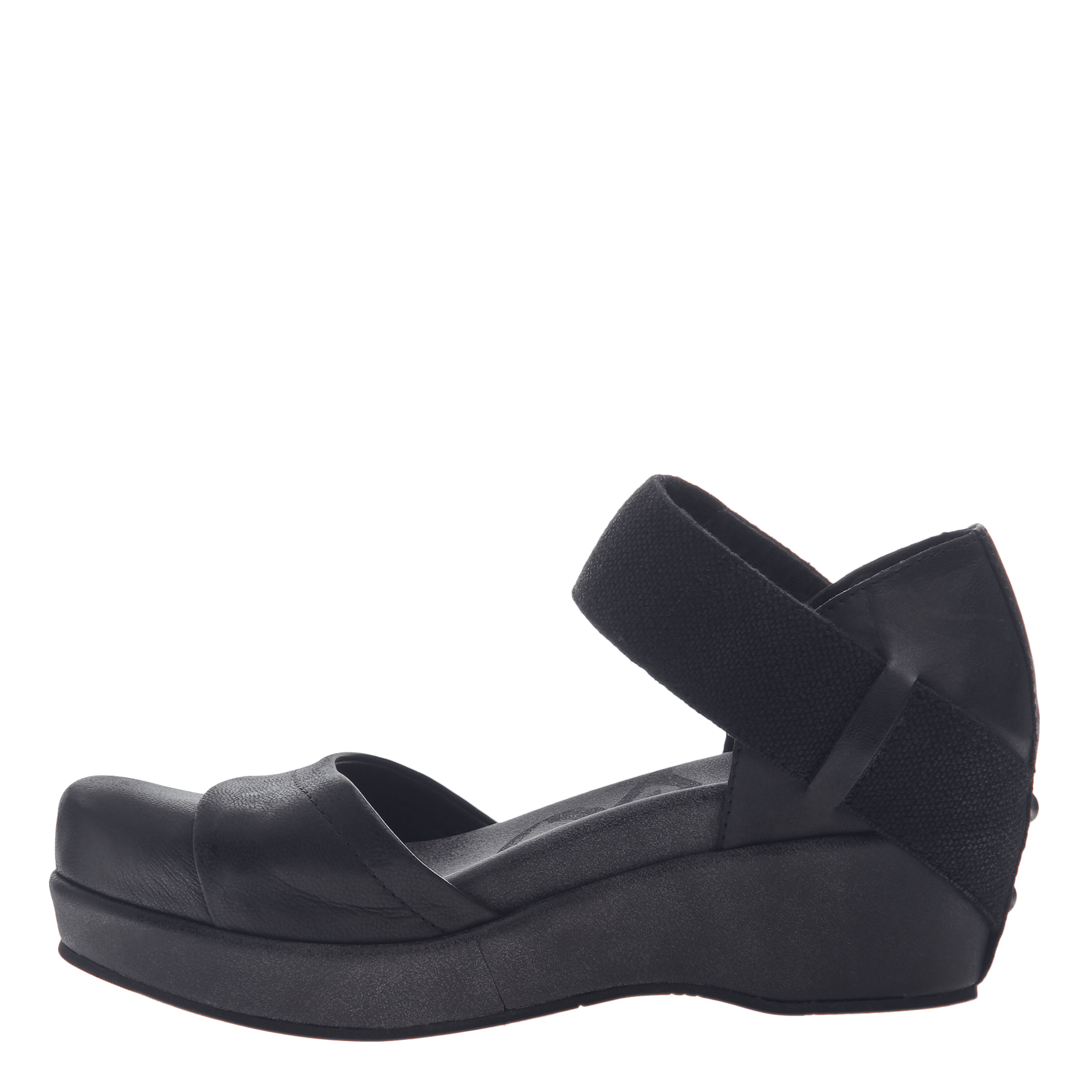 Womens closed toe wedges wander out in black inside view 8201879d2e59