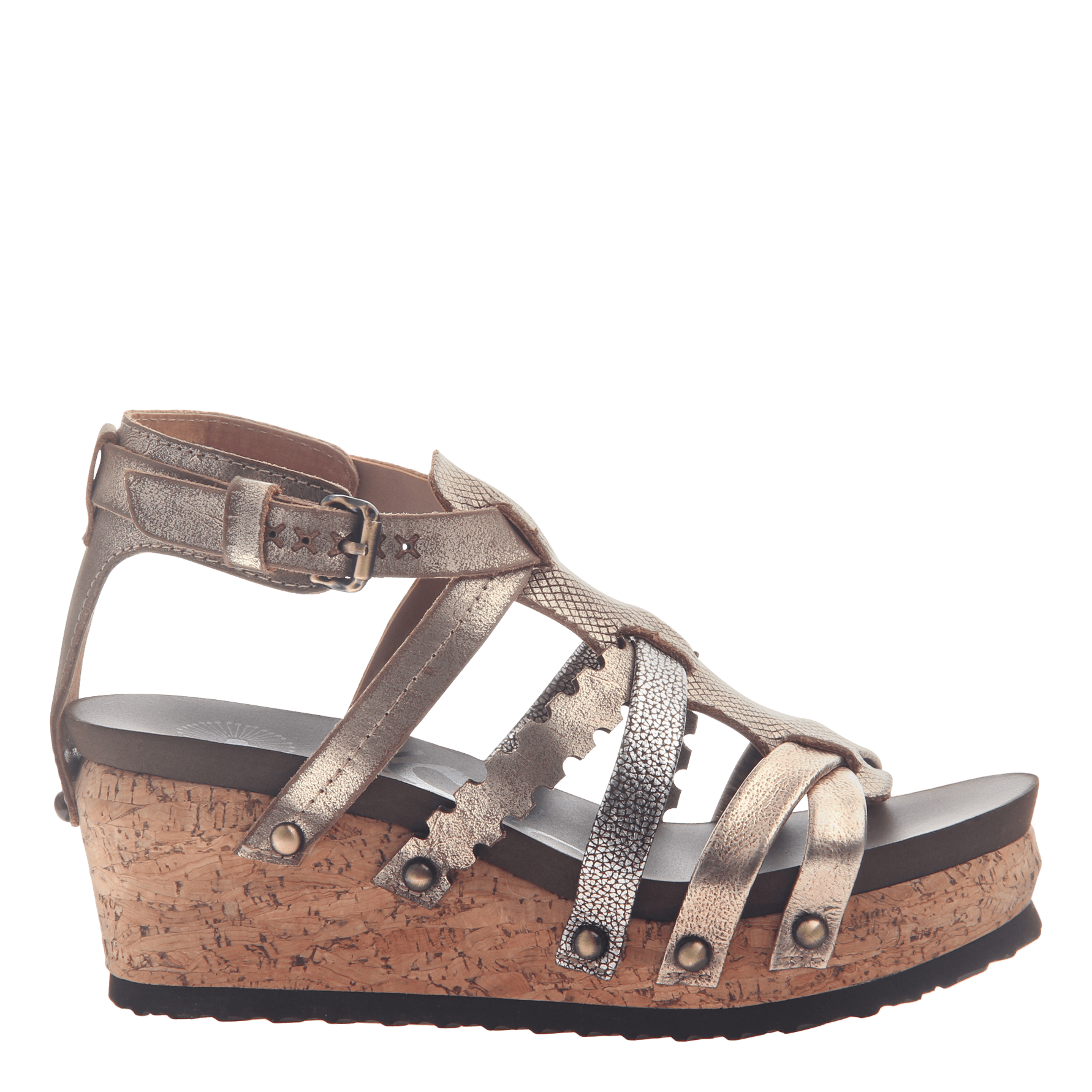 77ec923e0a01 Womens wedge gladiator sandal storm in Gold side view