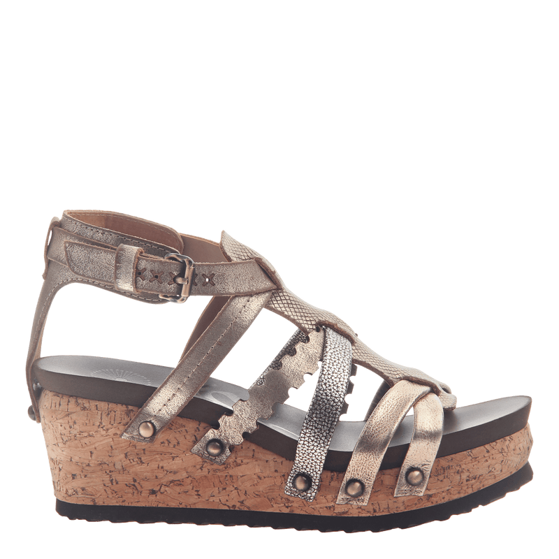 Womens wedge gladiator sandal storm in Gold