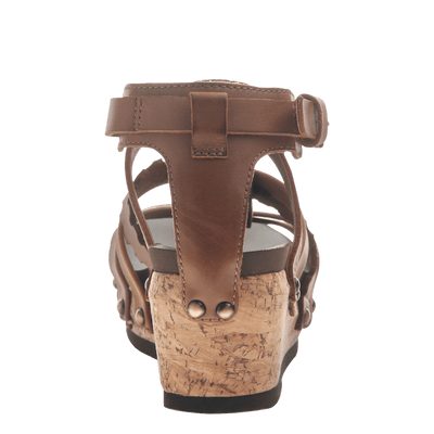 Womens wedge gladiator sandal storm in New Brown back view