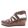 Womens wedge gladiator sandal storm in New Brown side view