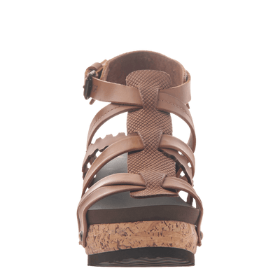 Womens wedge gladiator sandal storm in New Brown front view