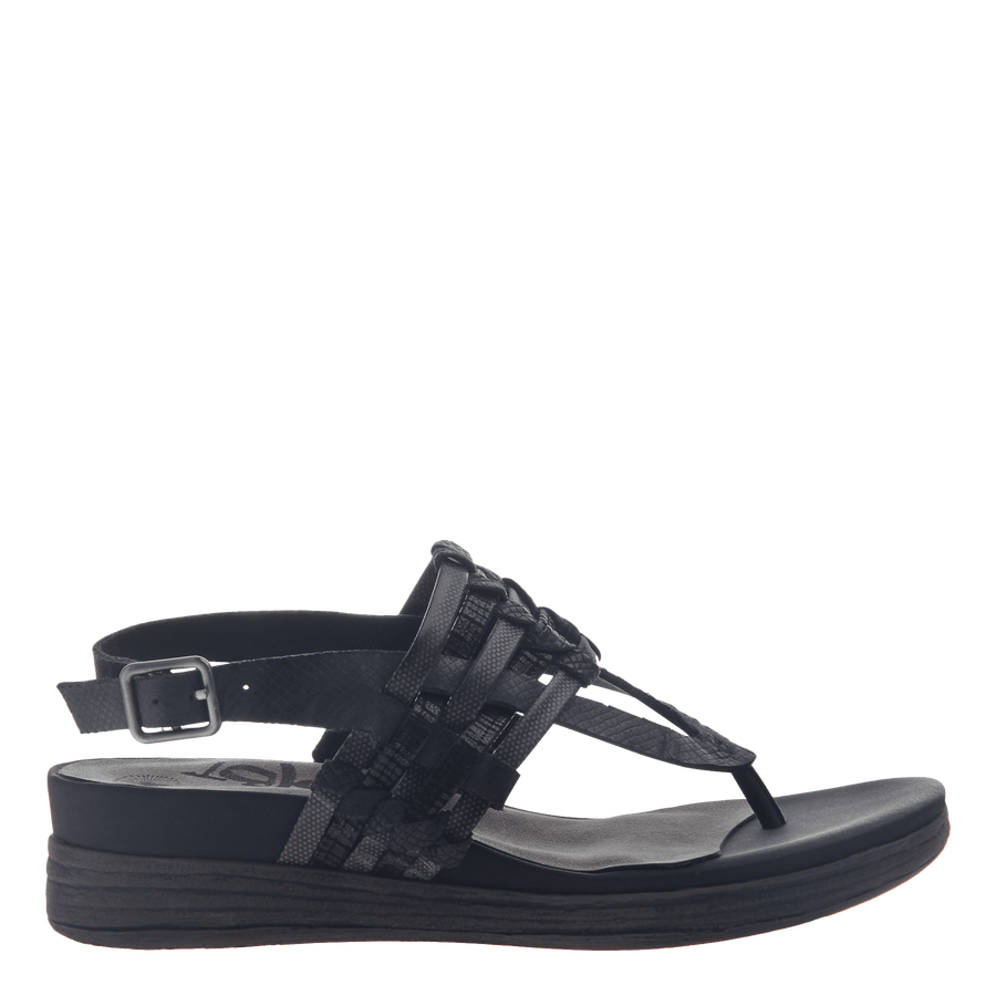 Womens thong wedge sandal Aviate in Black