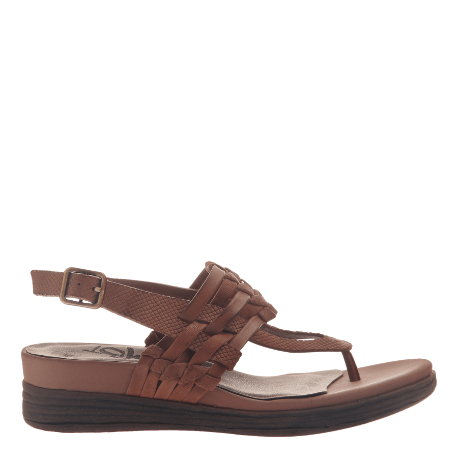 Womens thong wedge sandal Aviate in New Brown