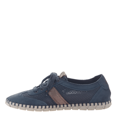 Womens flex sneaker comet in marine inside view
