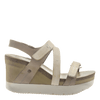 Womens wedge sandals wavey in cacao side view