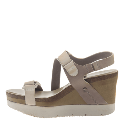 Womens wedge sandals wavey in cacao inside view