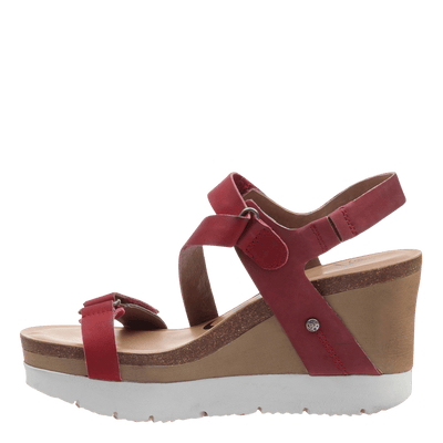 Womens platform wedge wavey in hunting red inside view