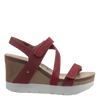 Womens platform wedge wavey in hunting red side view