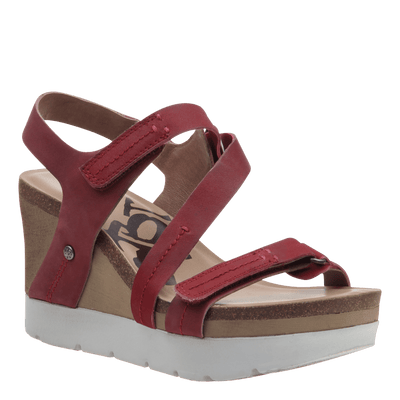 Womens platform wedge wavey in hunting red